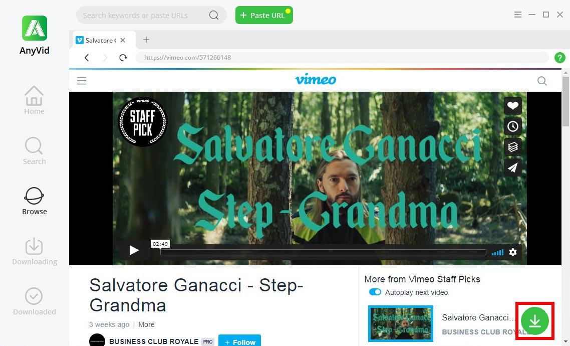Download Vimeo video via AnyVid's browse module