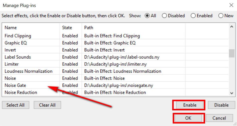 Aktivieren Sie das Noise Gate-Plugin von Audacity
