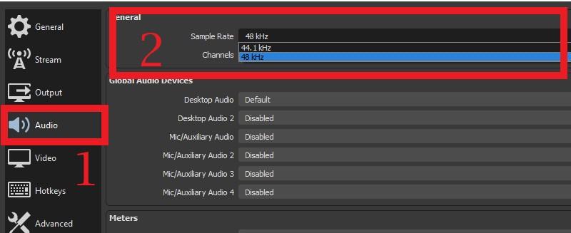 Einstellungen der OBS-Audio-Samplerate