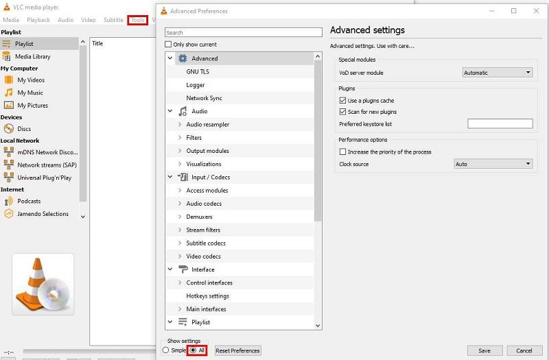 Zugriff auf VLC