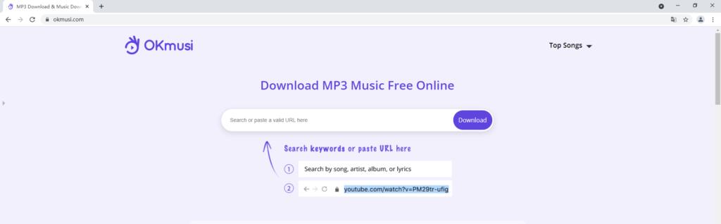 OKmusi MP3 finder online