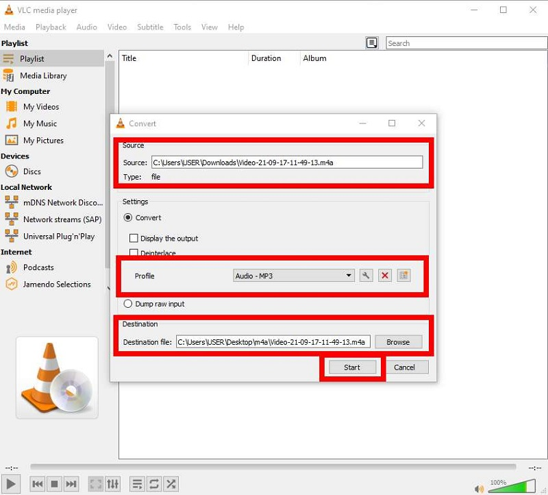 Start converting M4A to MP3 on VLC